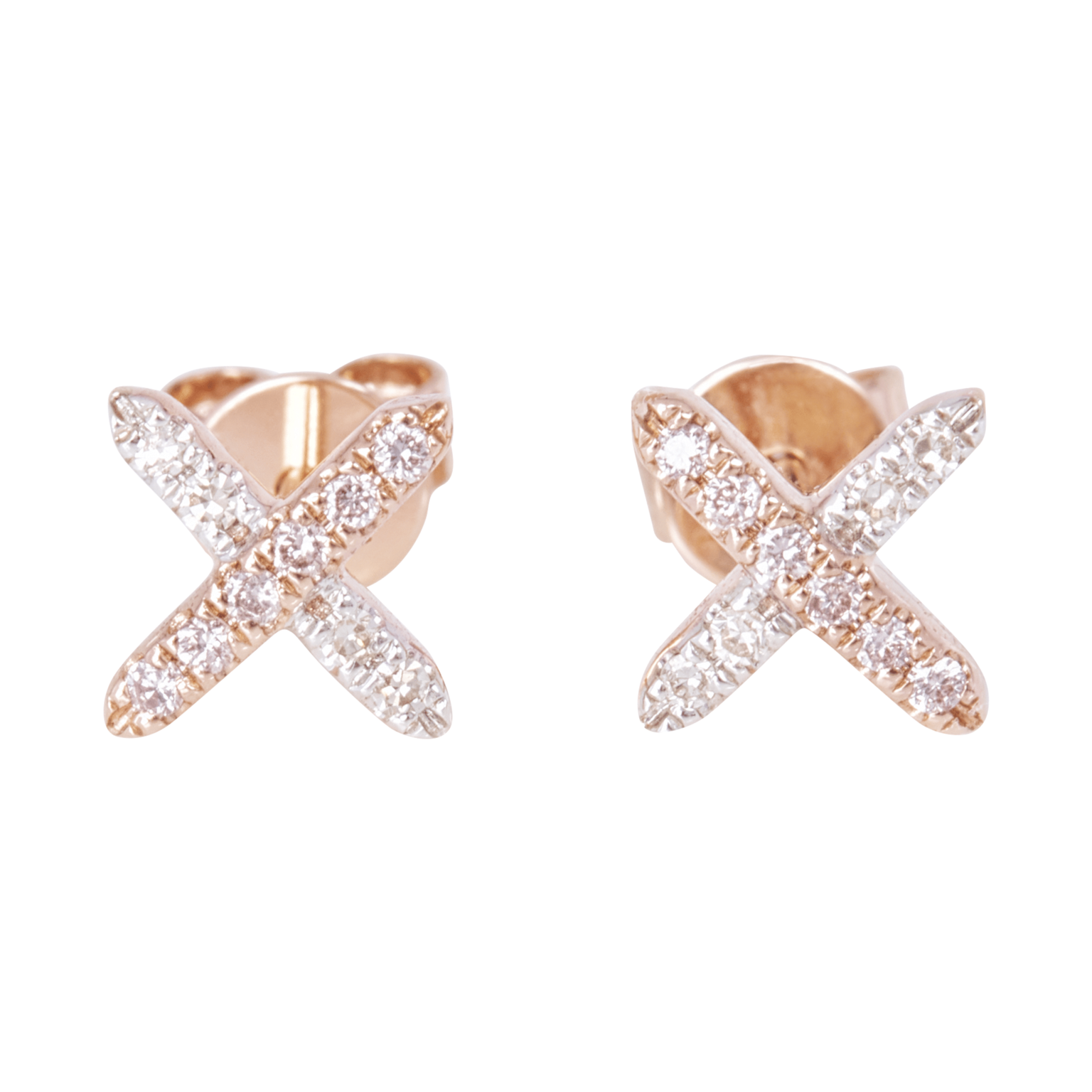 Eminence Pinks Diamond Cross Earrings