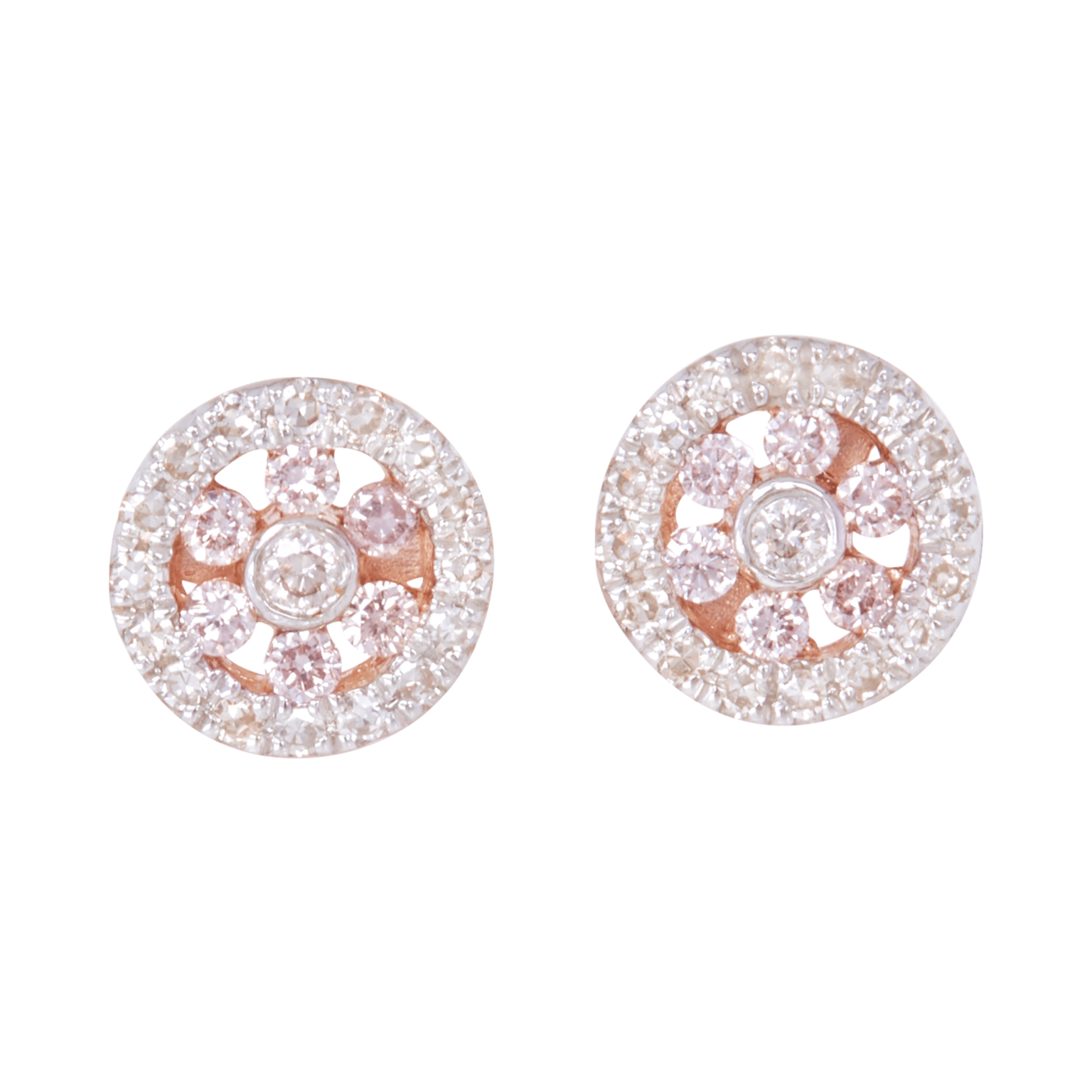 Eminence Pinks Diamond Halo Earrings