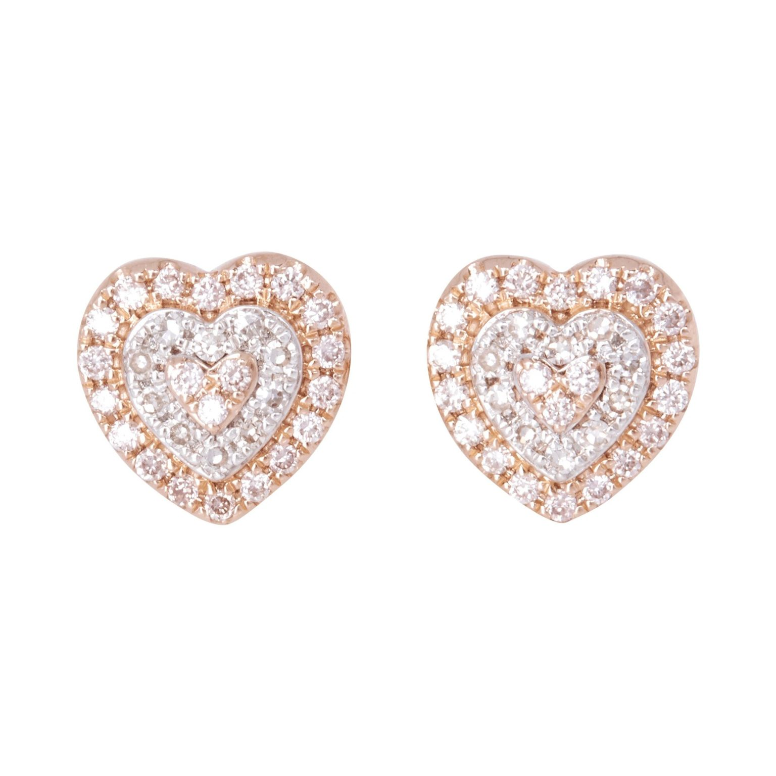 Eminence Pinks Diamond Heart Earrings